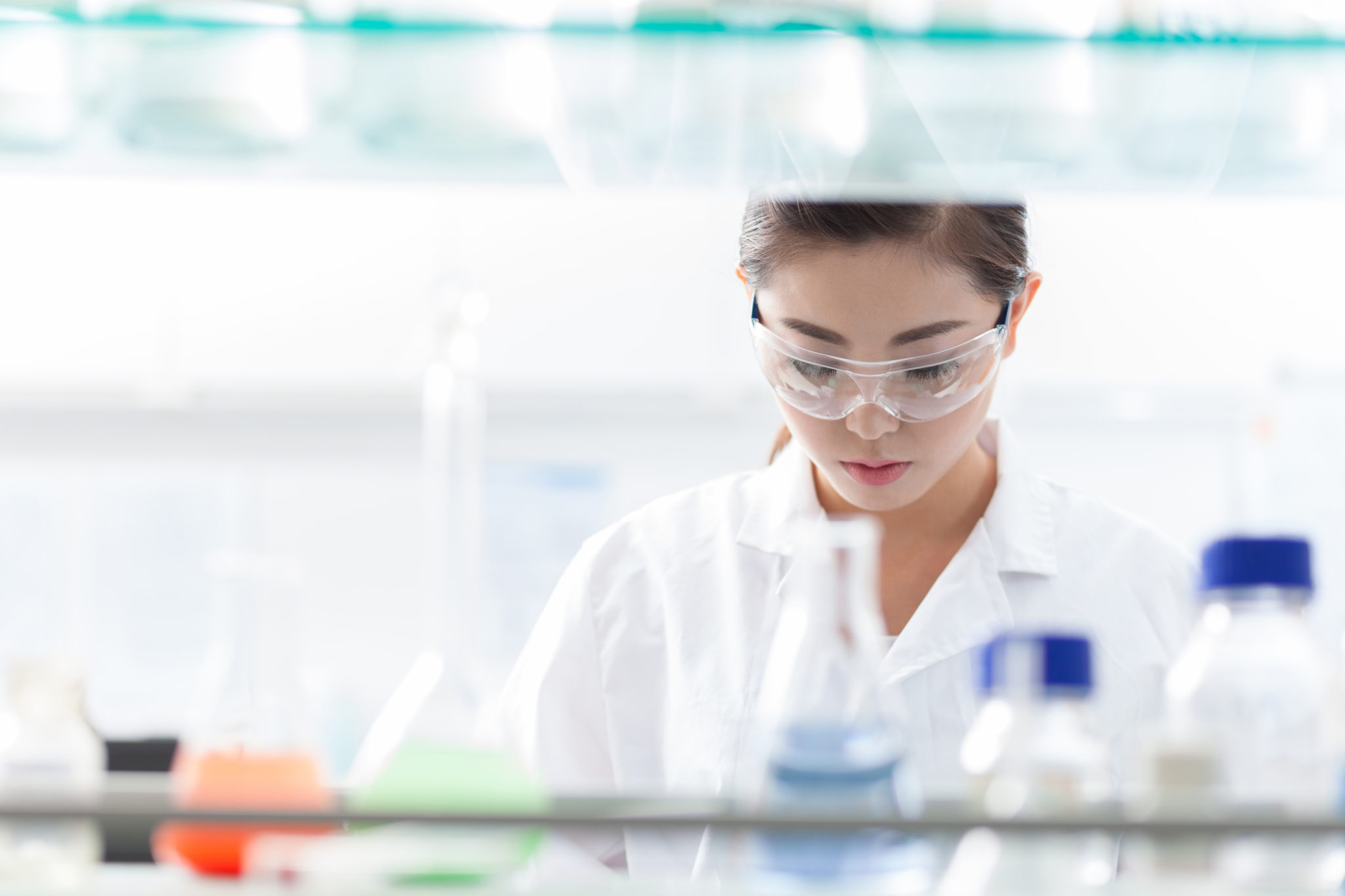 Female scientist at genetics lab