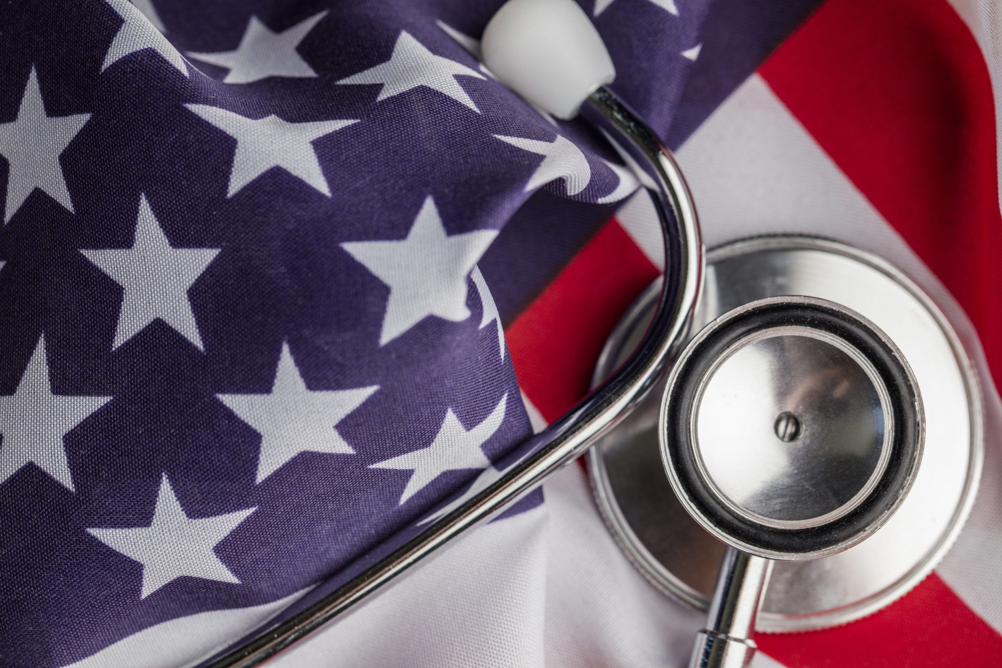 Stethoscope on an american stars and stripes flag