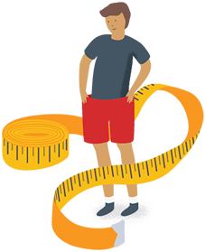 Male with a measuring tape around his waist