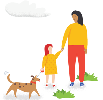 Mother and daughter holding hands next to a dog