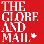 The Globe and Mail logo in white and red