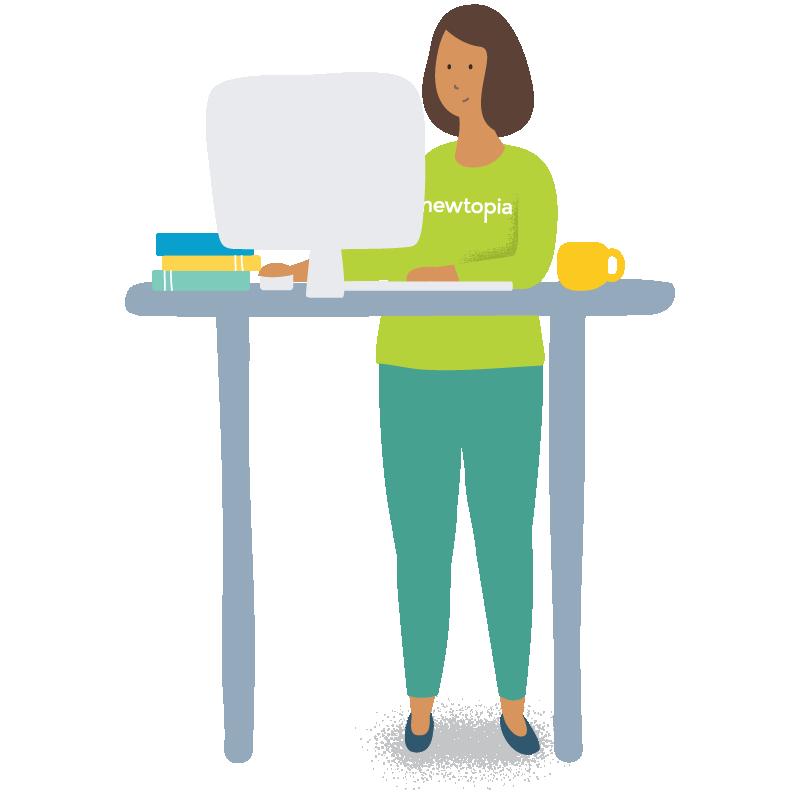 Newtopia inspirator at her desktop computer