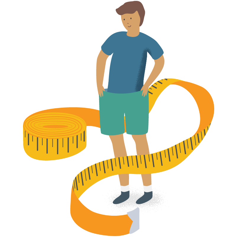 person standing in the middle of a yellow tape measure
