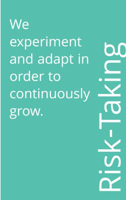 turquoise box that says: Risk-Taking: We experiment and adapt in order to continuously grow.
