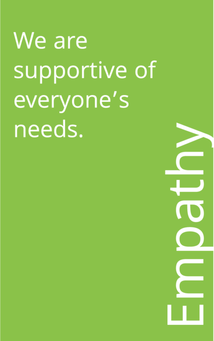 Green box that says: Empathy: We are supportive of everyone's needs.