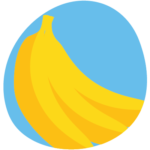 bunch of bananas in a blue circle