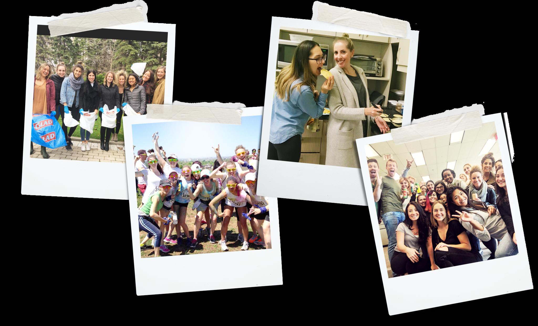 four polaroid photos of Newtopia staff enjoying themselves while at work