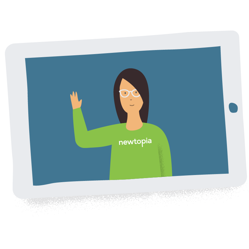 Newtopia Inspirator waving hello on the screen of a tablet