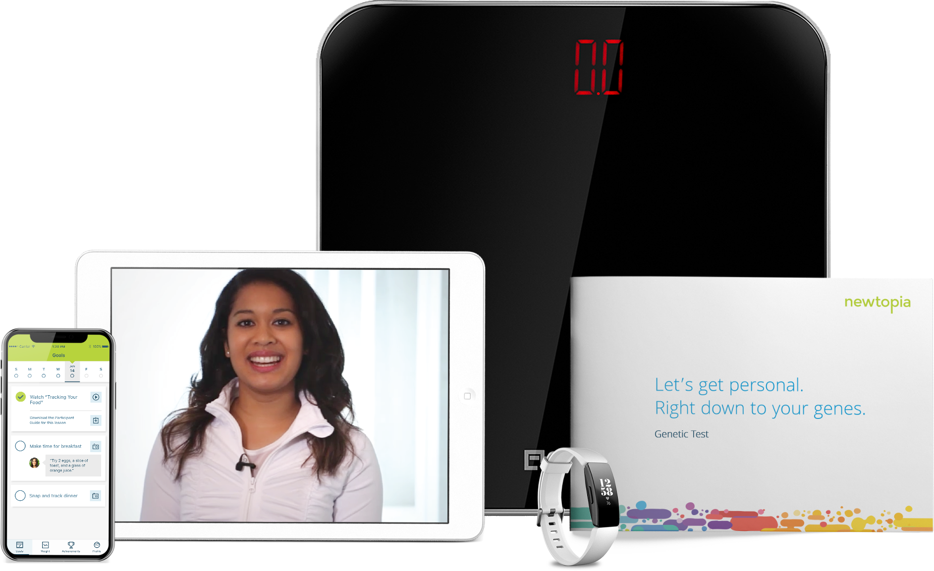 Newtopia scale, tablet, smart phone, smart watch, and welcome package