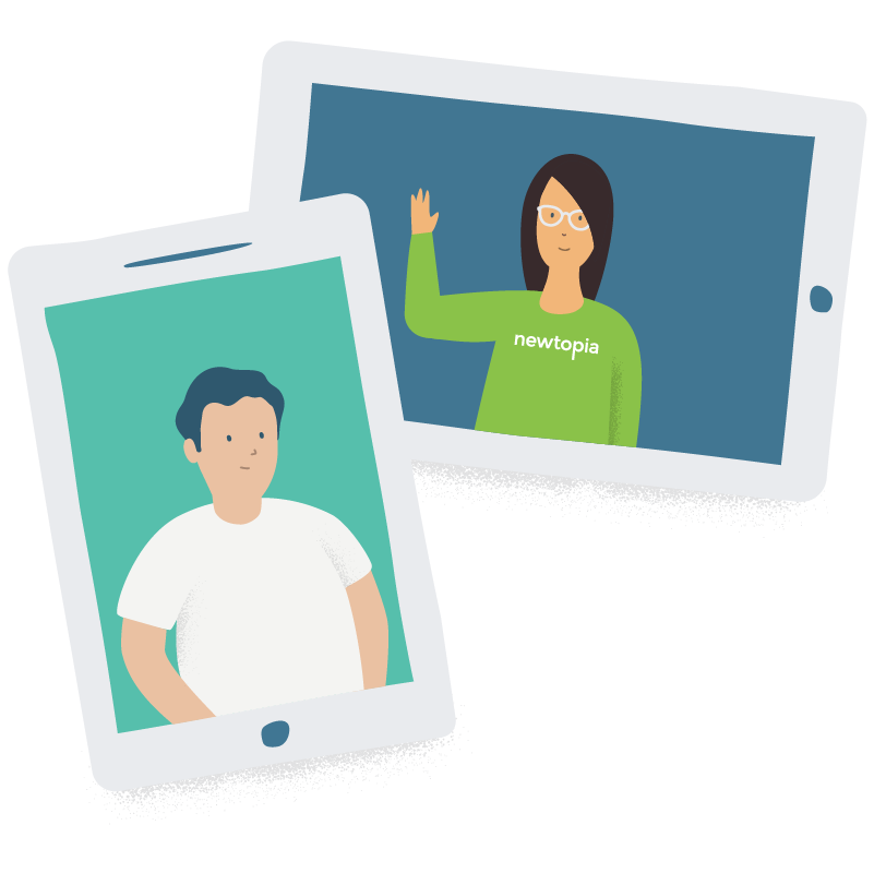 Illustration of a Newtopia Inspirator waving in tablet beside a Participant in another tablet