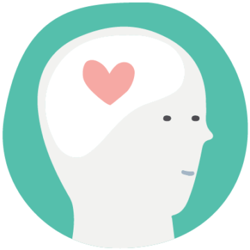 Illustration of a person's face with a heart in their brain