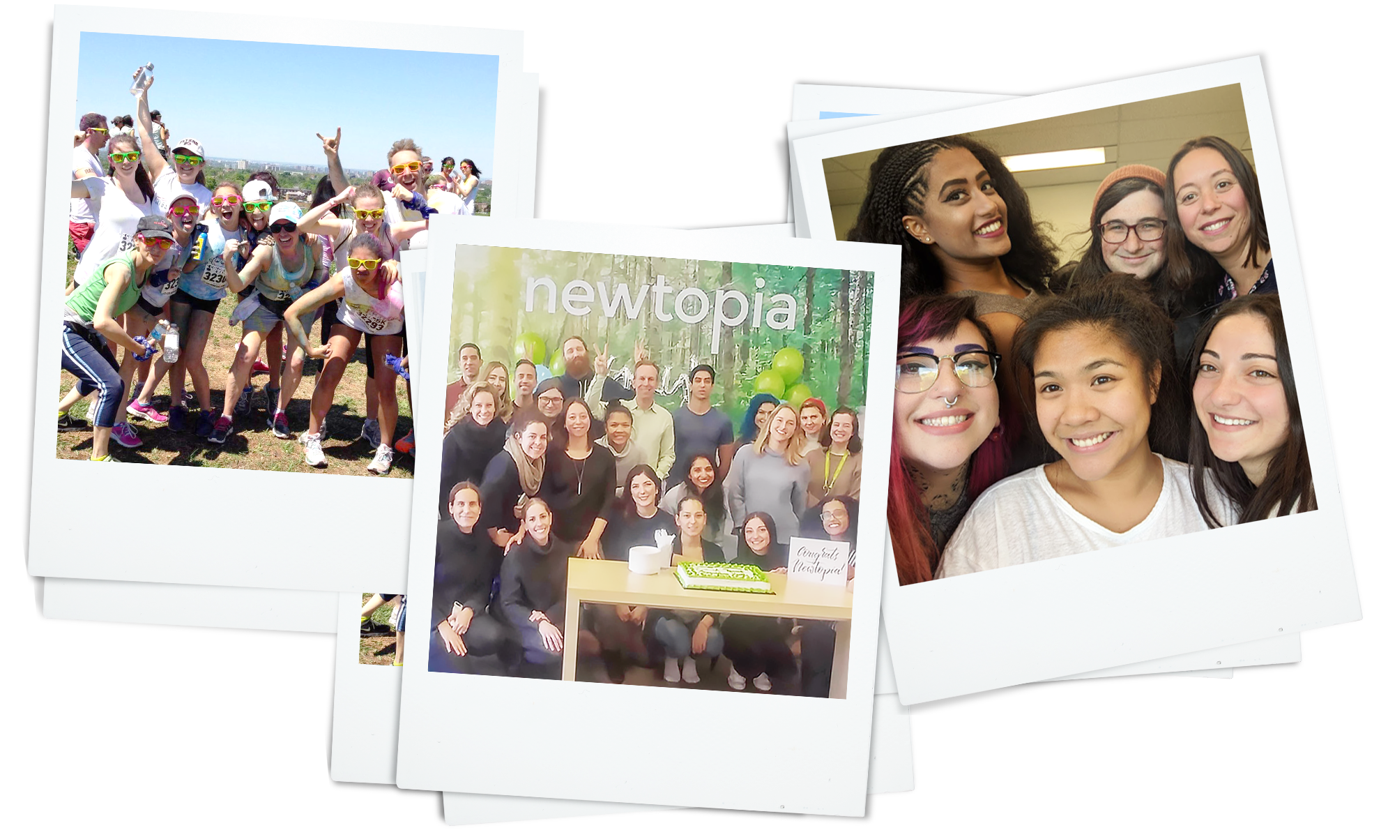 Newtopia team smiling and having fun at work in 3 polaroid images
