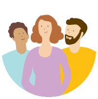 Illustration of three happy people in colorful clothing