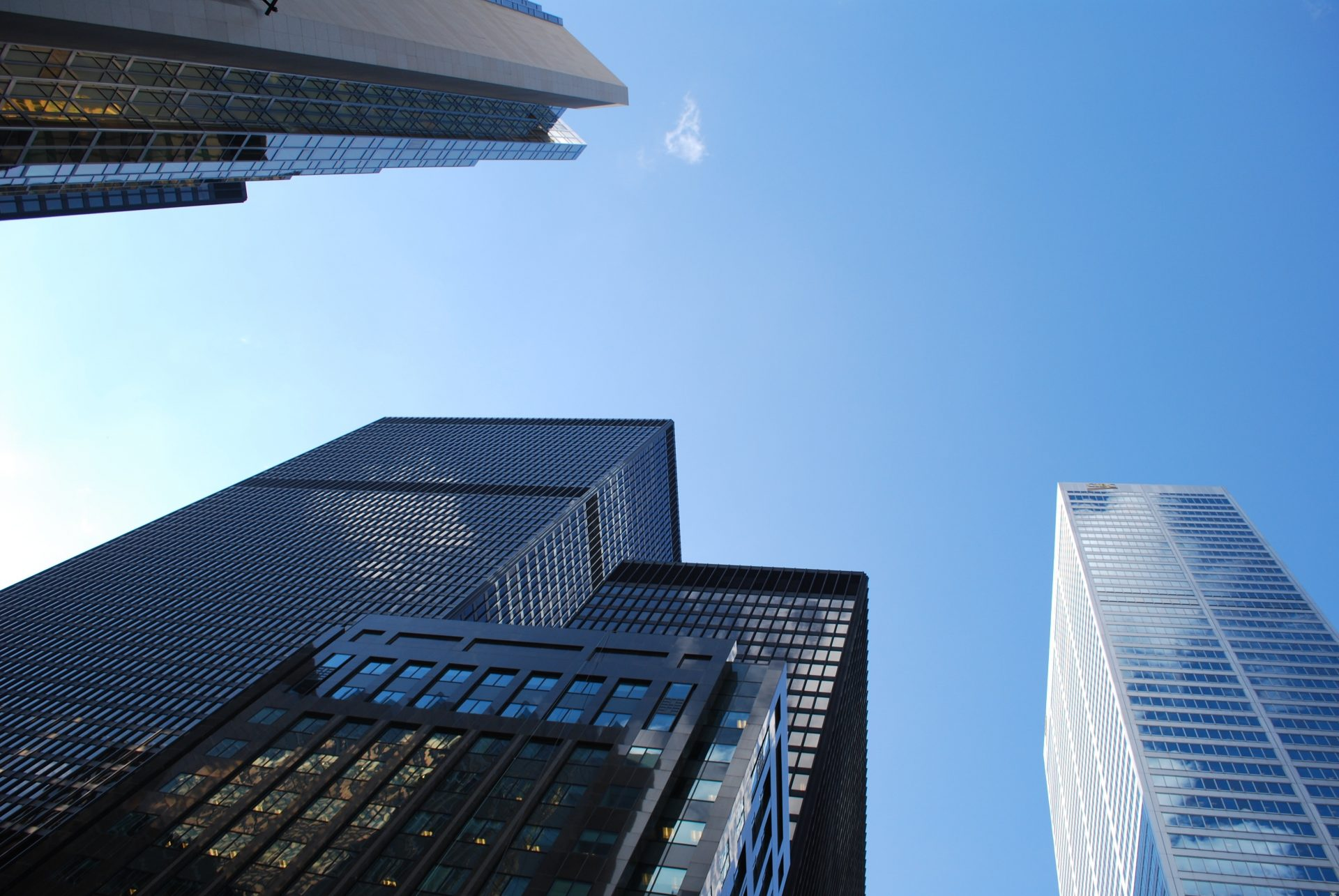 A view from below of skyscrapers