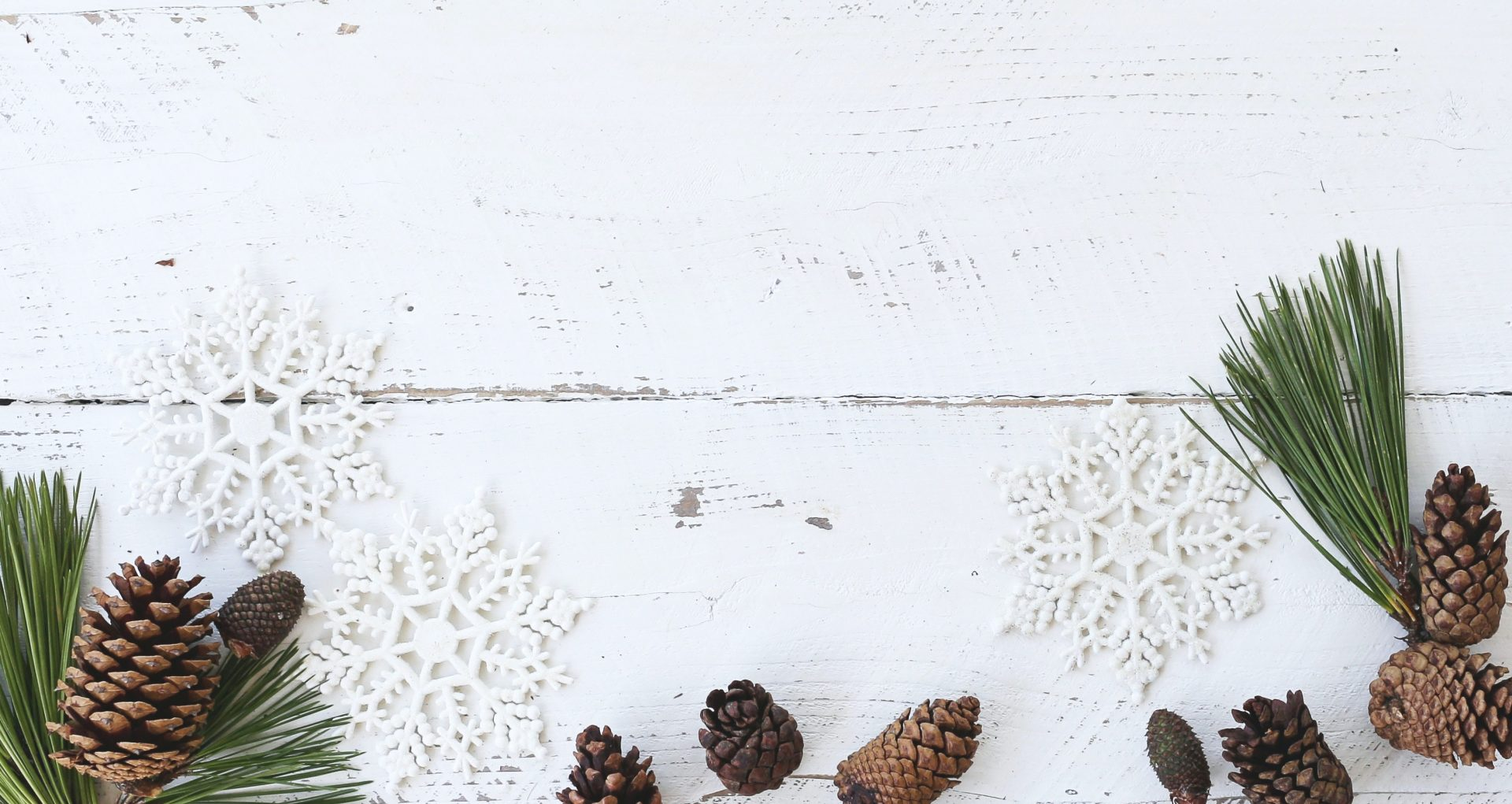 pinecones, snowflakes, and pine branches on a painted white board